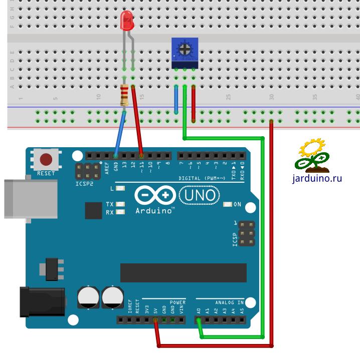 Управление яркостью светодиода с помощью потенциометра