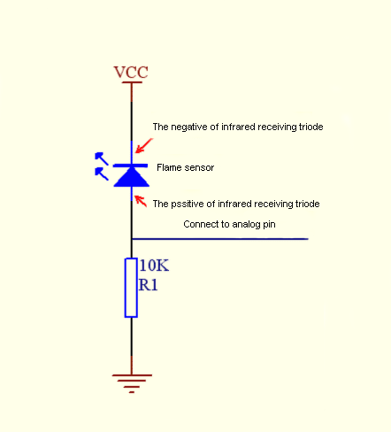Схема подключения датчика пламени